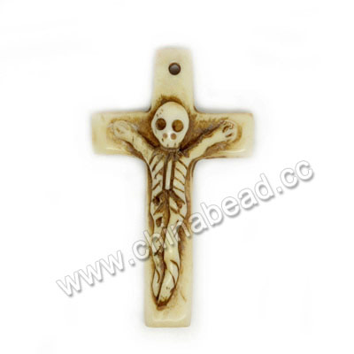 Carved Bone Skull Pendants, Antique, Human Skeleton, Cross, Other, Approx 47x27x8mm, Hole: Approx 2mm, Sold by PCS
