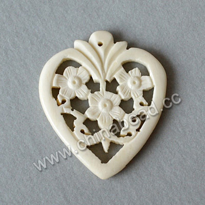 Carved Bone Pendants, White, Flower, Heart, Other, Approx 41x35x4mm, Hole: Approx 2mm, Sold by PCS