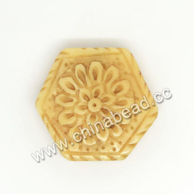 Carved Bone Beads, Ivory, Flower, Hexagon, Other, Approx 23x22x7mm, Hole: Approx 2mm, Sold by PCS