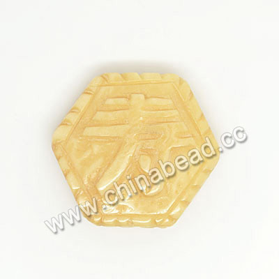 Carved Bone Beads, Ivory, Longevity Chinese Symbol, Hexagon, Other, Approx 24x21x7mm, Hole: Approx 2mm, Sold by PCS