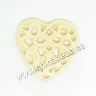 Carved Bone Pendants, Ivory, Bird Animal, Heart, Other, Approx 33x32x4mm, Hole: Approx 2mm, Sold by PCS