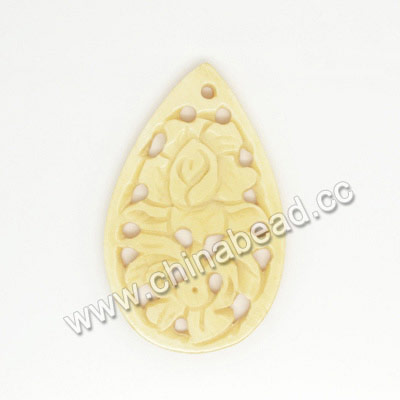 Carved Bone Pendants, Ivory, Flower, Teardrop, Approx 43x27x3mm, Hole: Approx 2mm, Sold by PCS