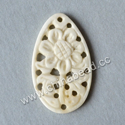 Carved Bone Pendants, White, Flower, Teardrop, Approx 40x23x3mm, Hole: Approx 2mm, Sold by PCS
