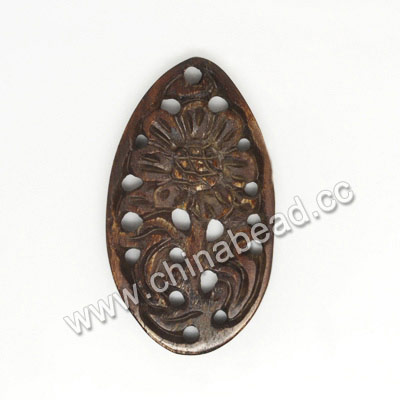 Carved Bone Pendants, Brown, Flower, Teardrop, Other, Approx 40x22x4mm, Hole: Approx 2mm, Sold by PCS