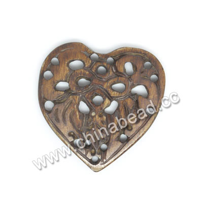 Carved Bone Pendants, Brown, Bird Animal, Heart, Other, Approx 33x32x4mm, Hole: Approx 2mm, Sold by PCS