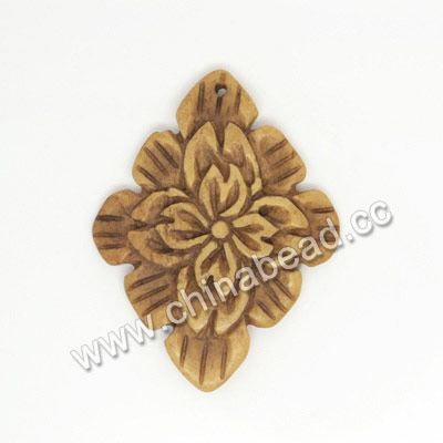 Carved Bone Pendants, Antique, Flower, Other, Approx 41x31x4mm, Hole: Approx 2mm, Sold by PCS
