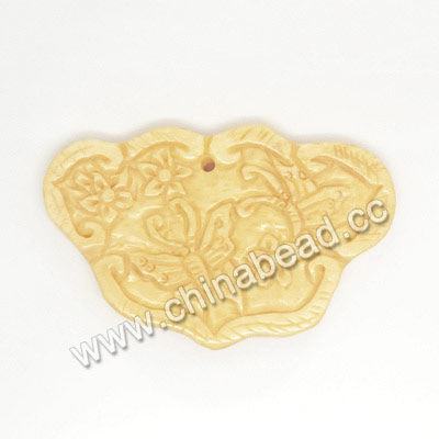 Carved Bone Pendants, Ivory, Flower & Butterfly Animal, Other, Approx 58x37x5mm, Hole: Approx 2mm, Sold by PCS