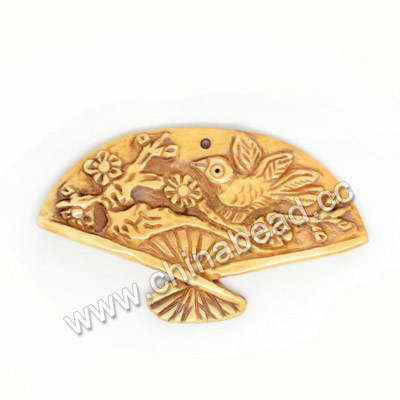 Carved Bone Pendants, Antique, Plum Blossom & Bird Animal, Fanshaped, Other, Approx 51x30x4mm, Hole: Approx 2mm, Sold by PCS