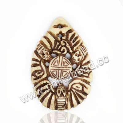 Carved Bone Pendants, Antique, Birds Animal & Double happiness Chinese Symbol, Teardrop, Approx 49x31x5mm, Hole: Approx 2mm, Sold by PCS