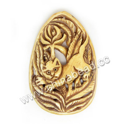 Carved Bone Pendants, Antique, Flower & Cat Animal, Teardrop, Other, Approx 52x35x5mm, Hole: Approx 2mm, Sold by PCS