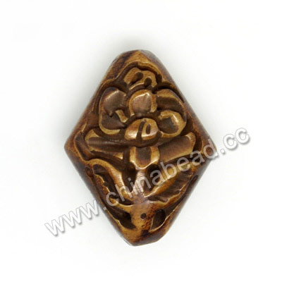 Carved Bone Beads, Brown, Flower, Diamond, Other, Approx 25x19x9mm, Hole: Approx 2mm, Sold by PCS