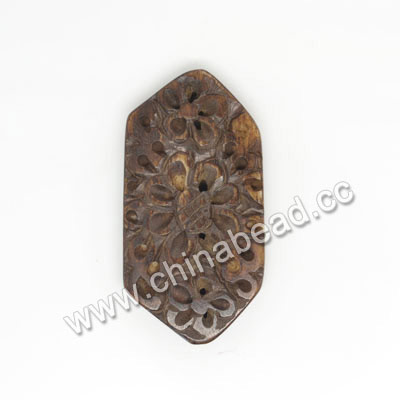 Carved Bone Pendants, Brown, Flower, Hexagon, Other, Approx 35x18x4mm, Hole: Approx 2mm, Sold by PCS
