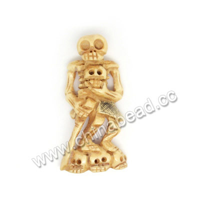 Carved Bone Skull Pendants, Antique, Human Skeleton Scrimshaw, Skull, Approx 54x25x10mm, Hole:Approx 2mm, Sold by PCS