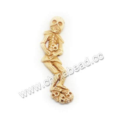 Carved Bone Pendants, Antique, Human Skeleton, Skull, 99x25x10mm, Hole:Approx 2mm, Sold by PCS