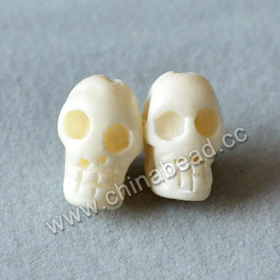 Carved Bone Skull Bead, White, Skull, Approx 9x13x9mm, Hole:Approx 2mm, Sold by PCS