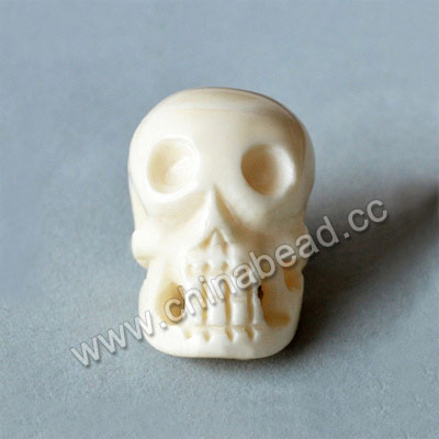 Carved Bone Skull Bead, White, Skull, Approx 26x36x28mm, Hole:Approx 3mm, Sold by PCS
