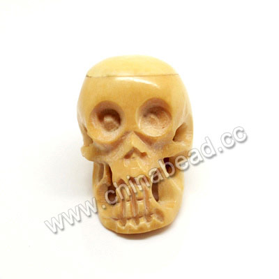 Carved Bone Skull Bead, Ivory, Skull, Approx 26x36x28mm, Hole:Approx 3mm, Sold by PCS