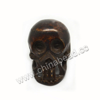 Carved Bone Skull Bead, Brown, Skull, Approx 26x36x28mm, Hole:Approx 3mm, Sold by PCS
