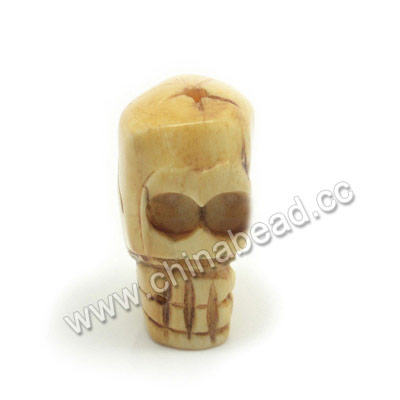 Carved Bone Skull Bead, Antique, Skull, Approx 13x25x15mm, Hole:Approx 2mm, Sold by PCS