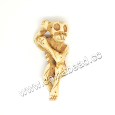 Carved Bone Skull Pendants, Antique, Human skeleton, Skull, Approx 55x25x15mm, Hole:Approx 2mm, Sold by PCS