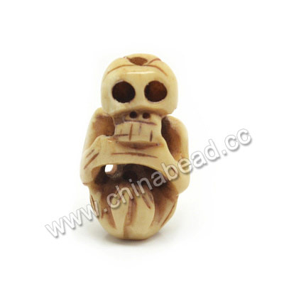 Carved Bone Skull Beads, Antique, Human skeleton, Skull, Approx 30x17x11mm, Hole:Approx 2mm, Sold by PCS