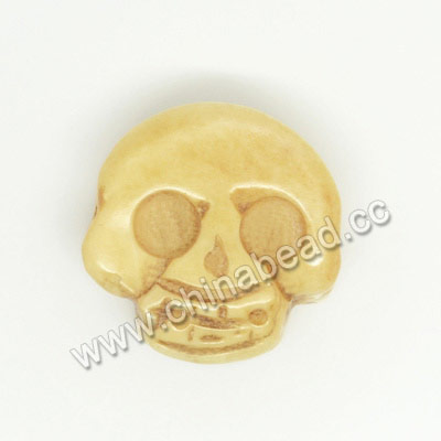 Carved Bone Skull Beads, Antique, Double Sides Skull, Skull, Approx 17x7mm, Hole:Approx 2mm, Sold by PCS