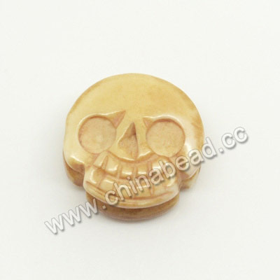 Carved Bone Skull Beads, Antique, Double Sides Skull, Skull, Approx 13x7mm, Hole:Approx 2mm, Sold by PCS