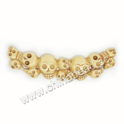 Carved Bone Pendants, Ivory, Group Skulls, Approx 105x25x7mm, Hole:Approx 3mm, Sold by PCS