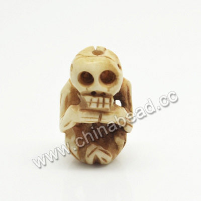 Carved Bone Skull Beads, Antique, Human Skeleton, Skull, Approx 25x15x11mm, Hole:Approx 2mm, Sold by PCS