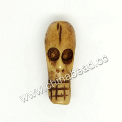 Carved Bone Skull Bead, Antique, Skull, Approx 8x22x8mm, Hole:Approx 2mm, Sold by PCS
