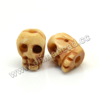Carved Bone Skull Bead, Antique, Skull, Approx 7x8mm, Hole:Approx 2mm, Sold by PCS