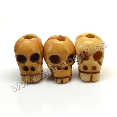 Carved Bone Skull Bead, Antique, Skull, Approx 9x10mm, Hole:Approx 2mm, Sold by PCS
