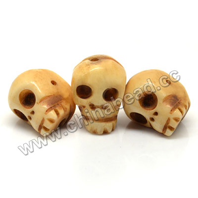 Carved Bone Skull Bead, Antique, Skull, Approx 13x14mm, Hole:Approx 2mm, Sold by PCS