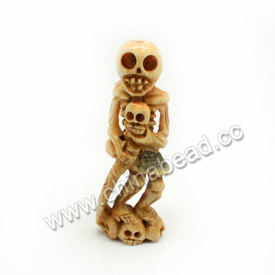 Carved Bone Skull Pendants, Antique, Human Skeleton & Skull, Skull, Approx 77x28x15mm, Hole:Approx 3mm, Sold by PCS