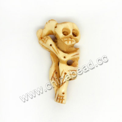 Carved Bone Skull Bead, Ivory, Human Skeleton, Skull, Approx 30x17x10mm, Hole:Approx 2mm, Sold by PCS