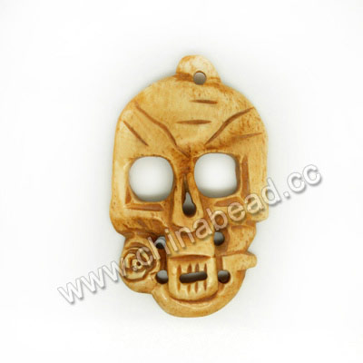 Carved Bone Skull Pendants, Antique, Skull & Flower, Skull, Approx 50x30x4mm, Hole:Approx 2mm, Sold by PCS