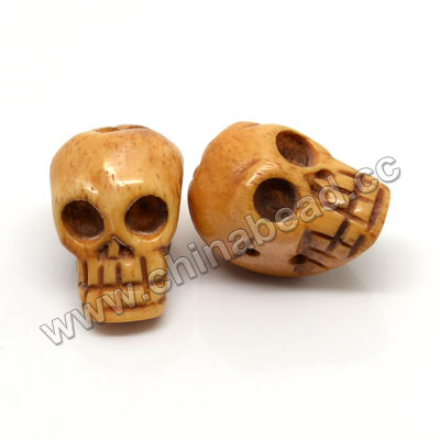 Carved Bone Skull Bead, Antique, Skull, Approx 15x16mm, Hole:Approx 2mm, Sold by PCS