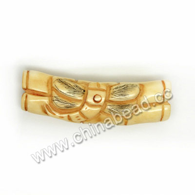 Carved Bone Beads, Ivory, Bamboo & Dragonfly Animal Scrimshaw, Cylinder, Approx 44x14x10mm, Hole: Approx 2mm, Sold by PCS