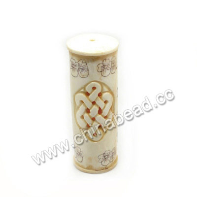 "Carved Bone Beads, Ivory, Chinese Knot & ""Have a safe trip""Chinese Symbol, Cylinder, Approx 25x74mm, Hole: Approx 2mm, Sold by PCS"