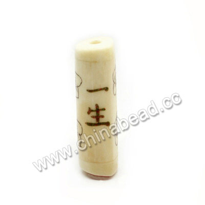 "Carved Bone Beads, Ivory, Flowers & ""Safe for all life"" Chinese Symbol, Cylinder, Approx 10x30mm, Hole: Approx 3mm, Sold by PCS"