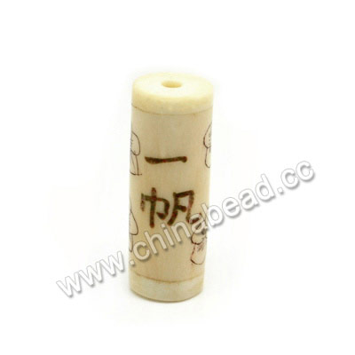 "Carved Bone Beads, Ivory, Flowers & ""Wishing you every success"" Chinese Symbol, Cylinder, Approx 11x30mm, Hole: Approx 3mm, Sold by PCS"