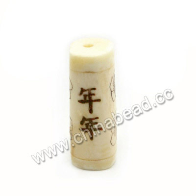 "Carved Bone Beads, Ivory, Flowers & ""May there be surpluses every year"" Chinese Symbol, Cylinder, Approx 12x31mm, Hole: Approx 3mm, Sold by PCS"