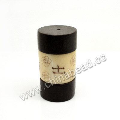 "Carved Bone Beads, Ivory, Flowers & ""Travel safe & sound"" Chinese Symbol, Cylinder, Approx 25x47mm, Hole: Approx 3mm, Sold by PCS"