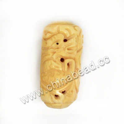 Carved Bone Beads, Ivory, Dragon Animal, Cylinder, Approx 23x50mm, Hole: Approx 3mm, Sold by PCS