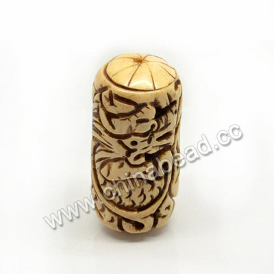 Carved Bone Beads, Antique, Dragon Animal, Cylinder, Approx 22x50mm, Hole: Approx 3mm, Sold by PCS