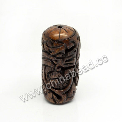 Carved Bone Beads, Brown, Dragon Animal, Cylinder, Approx 23x49mm, Hole: Approx 3mm, Sold by PCS