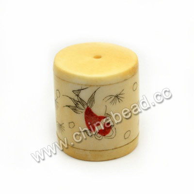 Carved Bone Beads, Ivory, Goldfish Animal Scrimshaw, Cylinder, Approx 26x28mm, Hole: Approx 2mm, Sold by PCS