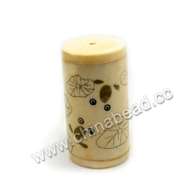 Carved Bone Beads, Ivory, Lotus leaf & Frog Scrimshaw, Cylinder, Approx 25x47mm, Hole: Approx 3mm, Sold by PCS