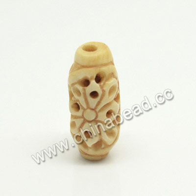 Carved Bone Beads, Ivory, Flower, Rice, Approx 10x20mm, Hole:Approx 2mm, Sold by PCS