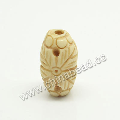Carved Bone Beads, Ivory, Flower, Rice, Approx 8x16mm, Hole:Approx 2mm, Sold by PCS